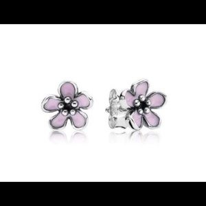 Pandora pink cherry blossom flower stud earrings